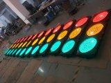 Semáforo del rojo y ambarinos y verdes del LED/señal de tráfico que contellean