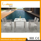 Neues Art-einfaches Garten-im Freienmöbel-Drahtziehen AluminiumPolywood Stuhl-Tisch-Set