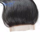 le chiusure del merletto 4X4 liberano i capelli diritti cinesi naturali non trattati della parte