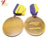 Médaille 2017 d'or molle d'émail de sport fait sur commande en gros d'usine avec la bande (YB-MD-23)