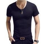 Cuerpo en forma Gimnasio Lycra de algodón o de los hombres Camiseta Cuello