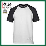 Maglietta rotonda verde promozionale in bianco su ordinazione del cotone del collo