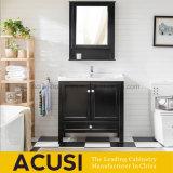 Vanité américaine en bois de petite taille de salle de bains de type avec le bassin en céramique (ACS1-W68)