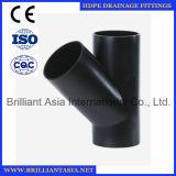 Тройник HDPE приспосабливая тип штуцер 88.5 штуцеров трубы t дренажа сифона HDPE степени трубы водопровода дренажа HDPE подходящий