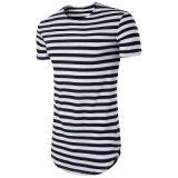 Hot coton rayée de base à la palangre hommes personnalisé Double écope bas T Shirt
