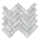 Chevron mosaico de piedra de mármol de Carrara mosaico de mármol blanco