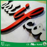 Carta de canal de acrílico del Lit LED del frente de la tarjeta de la muestra de la insignia del alfabeto de la luz del acero inoxidable de la alta calidad