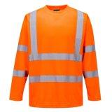 Hi Vis T Shirt ANSI Classe 3 de la chaux de sécurité réfléchissant orange haute visibilité à manchon long court