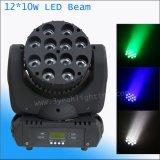 광속 가벼운 12X10W RGBW 4in1 소형 LED 이동하는 헤드 광속