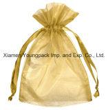 Moda promocional personalizada Pequena bolsa de presente para jóias de organza rosa quente