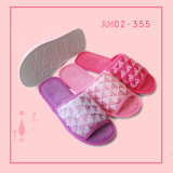 Warm Beautiful Indoor Room Plush Open Toe Slippers TPR