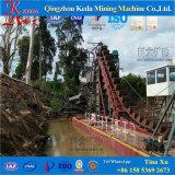 川のバケツの鎖の砂の金鉱山の浚渫船