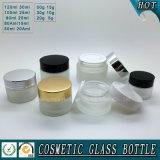 Bouteille en verre givré et choc cosmétiques de crème pour des soins de la peau