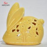 작은 노란 토끼 크리스마스 선물 & 장식 세라믹 Tealight 촛대 세트