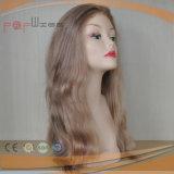 Peluca vendedora caliente posterior de las mujeres de la PU del cordón lleno de oro del pelo humano
