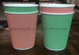 Le tazze di caffè di carta costolate/abitudine hanno stampato le tazze di carta isolate 12oz a gettare del caffè della parete dell'ondulazione del PE con il coperchio