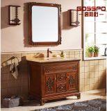 Cabinet de salle de bains en bois massif en acajou en style espagnol (GSP9-008)
