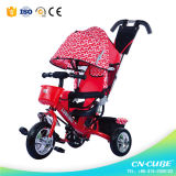 강요 바를 가진 세발자전거 유아 세발자전거가 아기 세발자전거에 의하여 농담을 한다