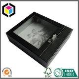 Коробка ясного подарка картона черноты окна бумажная для ювелирных изделий