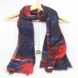 Colore rosso con la sciarpa blu per le signore, accessorio del poliestere di modo di colore di modo