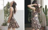 夏の花の印刷された袖なしの細い女の子の服