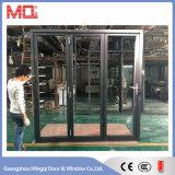 Puerta exterior de aluminio de baja emisión de cristal de la puerta plegable de doble pliegue