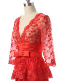 Bordar el color rojo chino al por mayor sin mangas del vestido de noche