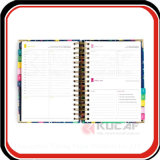 Boîte cadeau personnalisée Emballage Gold Wire O Bound Hard Cover Organizer Planner