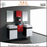 N&L en PVC noir brillant moderne salle de bains Vanity Cabinet