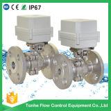 """1/2"""" 2 caminho SS304 tipo flange de rótula de ligação da válvula de esfera motorizadas eléctrico"""