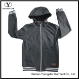 Ys-1068 Men Men Black Waterproof Respirável Microfleece Jaqueta de Softshell com capuz