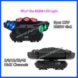 Iluminación LED de la araña de cabeza móvil 9PCS * 10W RGBW