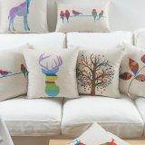 Almofada de linho de algodão impresso Purple Throw para decoração de sofá