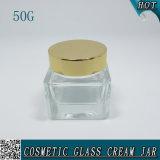 50g élégant flacon en verre clair carrés pot de crème cosmétique