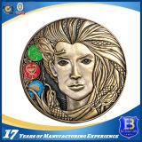 Античная монетка сувенира никеля с эмалью яркия блеска
