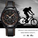 Новый стиль корпуса из нержавеющей стали, натуральная кожа полоса хронограф кварцевые часы для мужская 72187