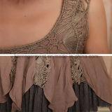 Les femmes taille haute gilet robe en mousseline de crochet creux