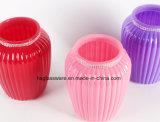 Vaso di vetro variopinto di stile delle bande verticali