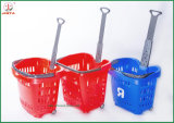 Panier de magasinage en plastique avec poignée en métal (JT-G07)