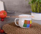 Taza de café del té del esmalte de Sunboat Taza + Taza de la etiqueta de la porcelana de la tapa Vajilla