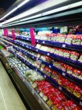 Supermercado Abrir Display Multicamada Vertical Chiller com cortina de ar
