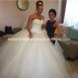 Vestido de casamento inchado nupcial L1534 dos cristais de Vestidos do vestido de esfera do querido