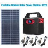 Generador solar portátil Batería de litio del Sistema de iluminación del hogar con AC/DC/USB