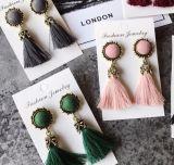 Flor de ladrillo brillante Borla larga Drop Earrings