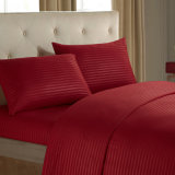 Cheap Stripe Hotel Quality Polyester Fabric Bed Sheet Set