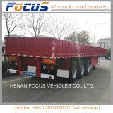 3axles de vlakke Aanhangwagen van de Vrachtwagen van het Stootkussen van het Bed Semi met ZijRaad
