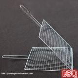 Barbecue portatile del BBQ dell'acciaio inossidabile che cuoce la maglia alla griglia del cestino con la maniglia del metallo