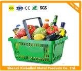 Panier à provisions en plastique tenu dans la main flexible en gros de supermarché pour des systèmes