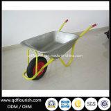Carrinho de mão de roda de borracha galvanizado chapeado zinco do Wheelbarrow Wb6404u