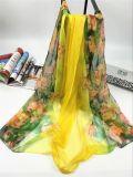 2017new Art100%polyester Faux-Silk Wasser-Lilie Degital Druck-Schals
